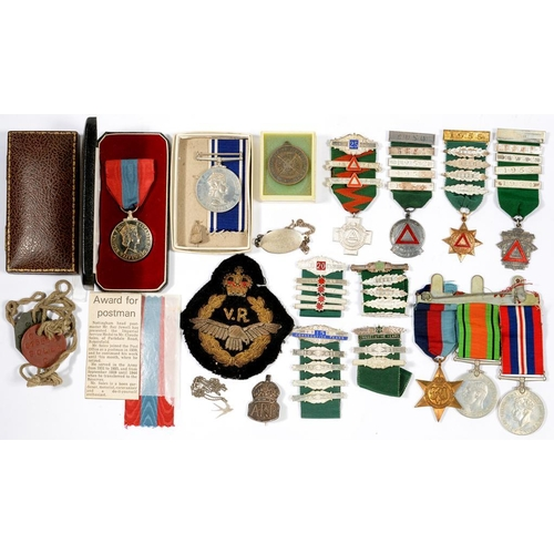 366 - <p>IMPERIAL SERVICE MEDAL, ERII, CLAUDE SOLES, CASE OF ISSUE, A SILVER ARP BADGE, THREE WORLD WAR TW...