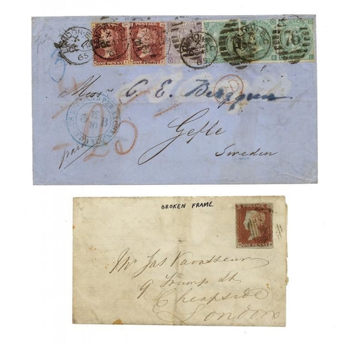 371 - <p>POSTAL HISTORY. 8TH AUGUST 1846 ENTIRE LETTER London with superb boxed blue BARRAS BRIDGE RH on r...