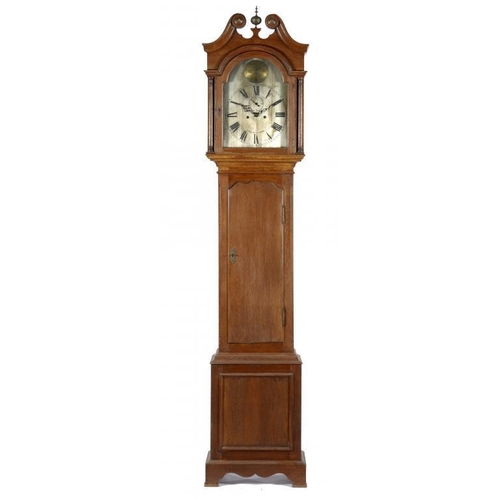 425 - <p>A VICTORIAN OAK EIGHT DAY LONGCASE CLOCK MAPLE & CO LTD, LONDON, C1900, the breakarched and silve...