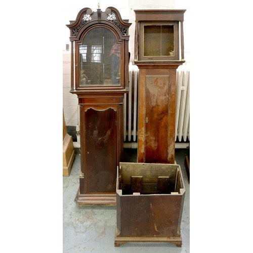 426 - <p>A GEORGE III MAHOGANY LONGCASE CLOCK CASE AND ANOTHER, 19TH C</p>...