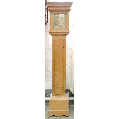427 - <p>A THIRTY HOUR LONGCASE CLOCK, THE 20CM ENGRAVED BRASS DIAL INSCRIBED WILLM GUNN WALLINGFORD, WITH...