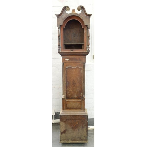 428 - <p>AN EARLY VICTORIAN OAK AND INLAID LONGCASE CLOCKCASE, WITH SWAN NECK PEDIMENT, 208CM H</p>...