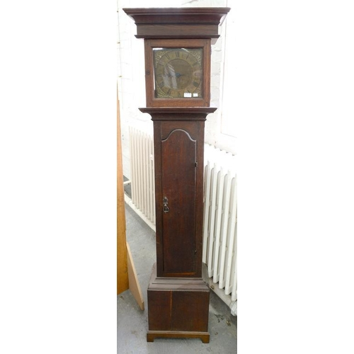 429 - <p>AN OAK THIRTY HOUR LONGCASE CLOCK, THE 25CM ENGRAVED BRASS DIAL INSCRIBED WILLM EMMERTON WOOTTON,...