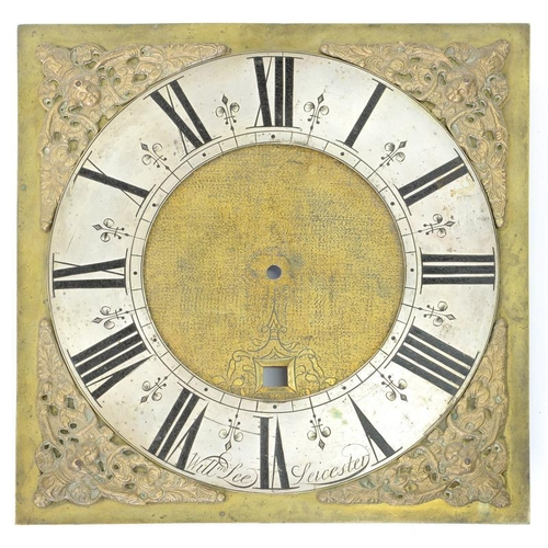 437 - <p>AN 18TH C ENGLISH 25.5CM BRASS LONGCASE CLOCK DIAL, WITH MATTED CENTRE AND DATE APERTURE, THE SIL...