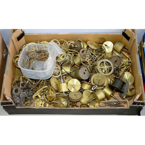 441 - <p>A QUANTITY OF 18TH AND EARLY 19TH ENGLISH BRASS LONGCASE CLOCK BARRELS, WHEEL TRAINS AND ASSOCIAT...