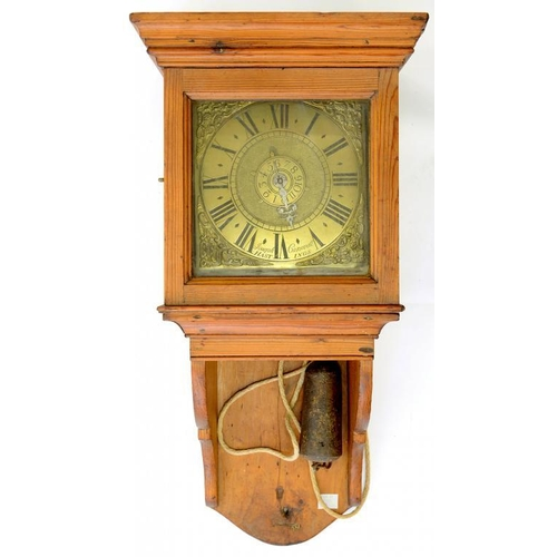 451 - <p>A BRASS DIAL CLOCK, THE 17CM SQUARE DIAL WITH MATTED CENTRE AND ALARM DISC, INSCRIBED ON THE CHAP...