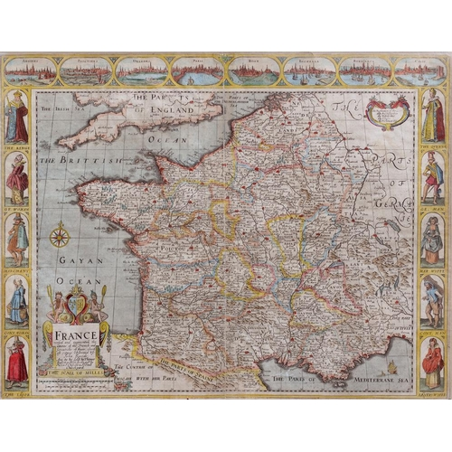 512 - <p>JOHN SPEED, FRANCE, DOUBLE PAGE ENGRAVED MAP, HAND COLOURED, 40.5 X 53CM, REVERSE GLAZED </p>...