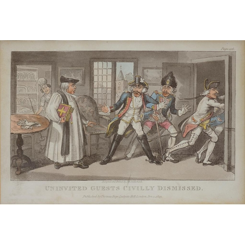 521 - <p>TWO EARLY 19TH C HUMOROUS AQUATINTS AFTER J. R. CRUIKSHANK - UNINVITED GUESTS CIVILLY DISMISSED A...