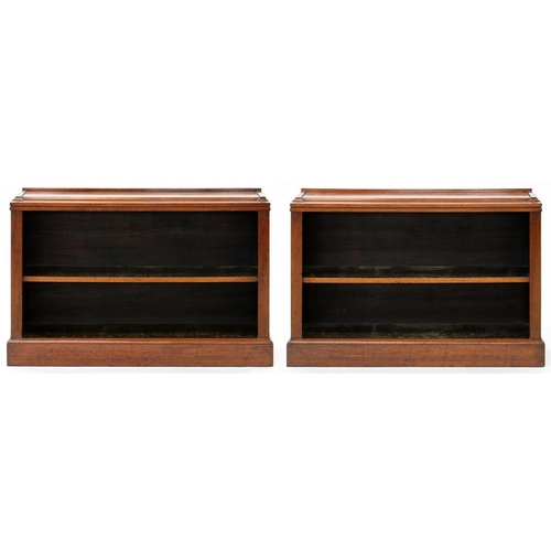 612 - <p>A PAIR OF VICTORIAN MAHOGANY OPEN BOOKCASES, 113 AND 115CM W</p>...