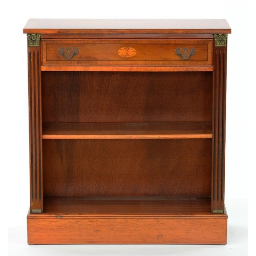 614 - <p>A YEW WOOD OPEN BOOKCASE WITH FLUTED BALUSTERS, 76CM W, LATE 20TH C</p>...