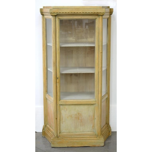 618 - <p>A SPLAY FRONTED AND CREAM PAINTED DISPLAY CABINET, 76CM W</p>...