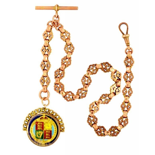 1 - <p>A GOLD FANCY LINK ALBERT WITH T-BAR, MARKED 9CT, 20.8G, MOUNTED WITH A GILT AND ENAMELLED SHILLIN...