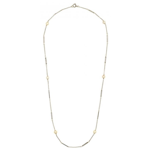 17 - <p>A WHITE GOLD NECKLET WITH CULTURED PEARLS AT INTERVALS, EARLY 20TH C 46CM, MARKED 9CT, 3.6G</p>...