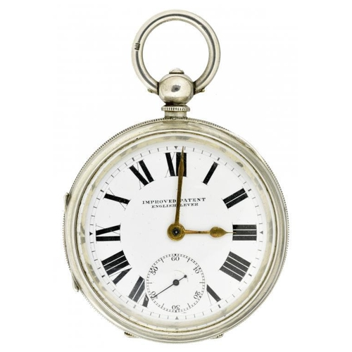 18 - <p>A SILVER LEVER WATCH, IMPROVED PATENT  with enamel dial in heavy gauge engine turned case, 5.7cm ...