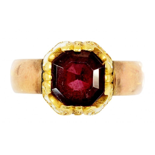 2 - <p>A GARNET AND WHITE ENAMEL RING  WITH ASSOCIATED GOLD BAND, UNMARKED, 5.2G, SIZE M�</p>...