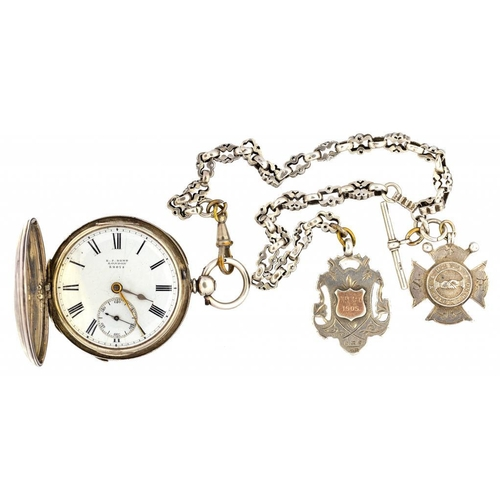 22 - <p>A SILVER HUNTING CASED LEVER WATCH, THE ENAMEL DIAL AND MOVEMENT SIGNED E.J. DENT LONDON, 22074, ...