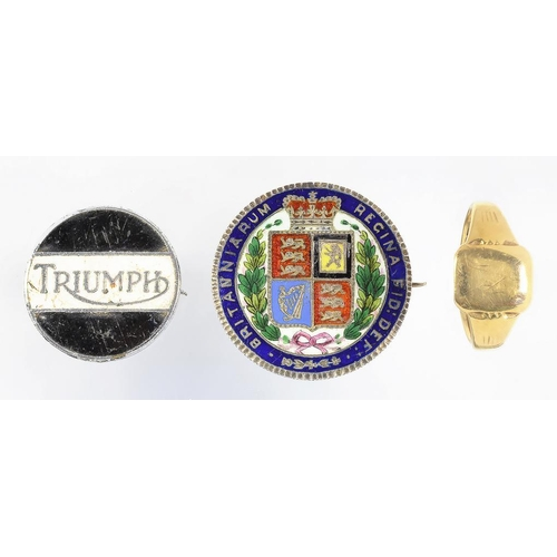 31 - <p>A VICTORIAN ENAMELLED FLORIN BROOCH, AN ENAMELLED BASE METAL TRIUMPH (MOTORCYCLE) BADGE AND A 9CT...