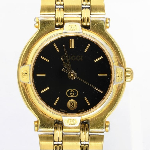 34 - <p>A GUCCI GOLD PLATED LADY'S WRISTWATCH</p>...