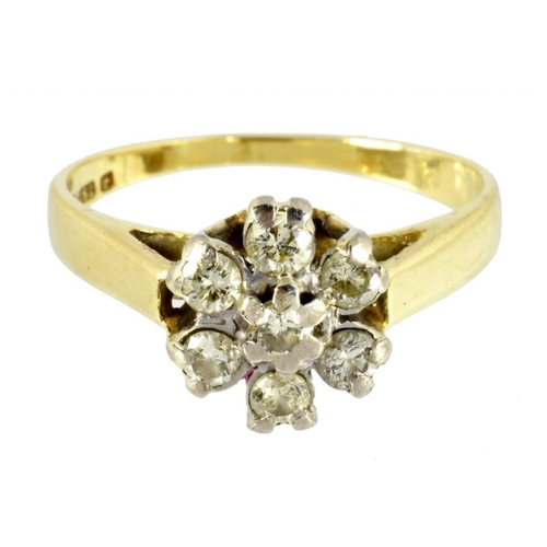 10 - <p>A DIAMOND CLUSTER RING IN 18CT GOLD, 3.1G</p>...