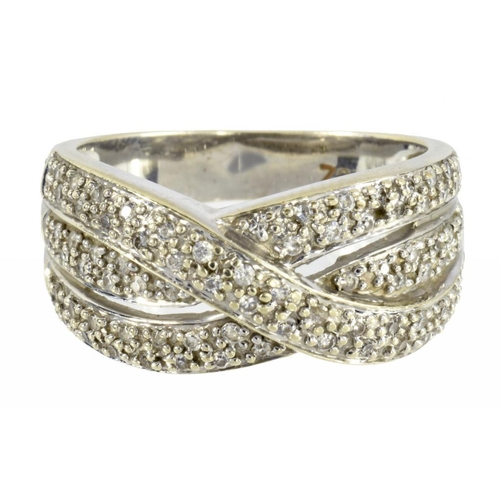 2 - <p>A CUBIC ZIRCONIA THREE ROW RING  in 9ct white gold, 5.4g, size M</p><p></p>...