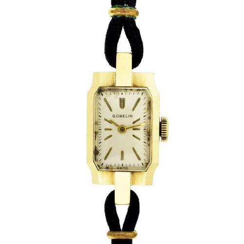 8 - <p>A GUBELIN 14CT GOLD LADY'S WRISTWATCH the chamferred case 1.4 x 2.9cm, Swiss control marks, the b...