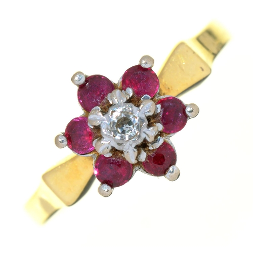 1 - A RUBY AND DIAMOND RING IN GOLD MARKED 18CT, 3.5G, SIZE K...