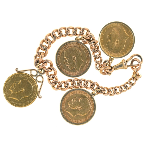 30 - A 9CT GOLD BRACELET, LINKS INDIVIDUALLY MARKED, MOUNTED WITH FOUR SOVEREIGNS, 1907, 1913, 1913 AND 1...