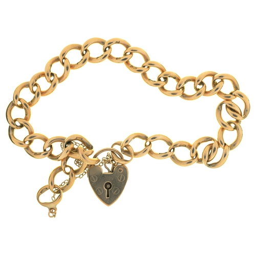 33 - A 9CT GOLD BRACELET, LINKS INDIVIDUALLY MARKED AND 9CT GOLD PADLOCK, 25G...