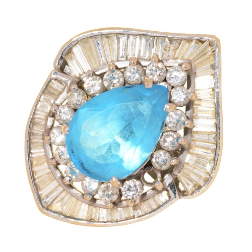 6 - A BLUE TOPAZ AND DIAMOND RING, IN WHITE GOLD, UNMARKED, 13.5G, SIZE N...