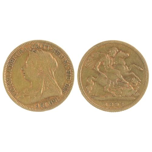 61 - GOLD COIN. HALF SOVEREIGN, 1894...