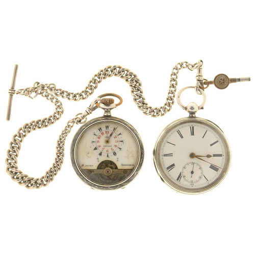 8 - TWO SILVER LEVER WATCHES, ONE BIRMINGHAM 1893, THE OTHER CONTINENTAL, NIELLO, MARKED 0.800 AND A SIL...