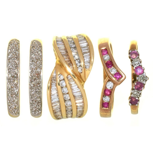 10 - <p>FIVE DIAMOND SET 9CT GOLD RINGS, COMPRISING A DIAMOND TWIST RING, TWO RUBY AND DIAMOND RINGS AND ...