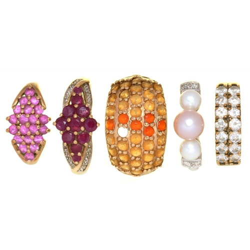 12 - <p>FIVE GEM SET 9CT GOLD RINGS, INCLUDING A PEARL AND DIAMOND RING, A RUBY AND DIAMOND RING AND A PI...