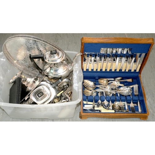 182 - <p>MISCELLANEOUS PLATED WARE, INCLUDING VARIOUS HOLLOWARE, GALLERY TRAY, ETC</p>...