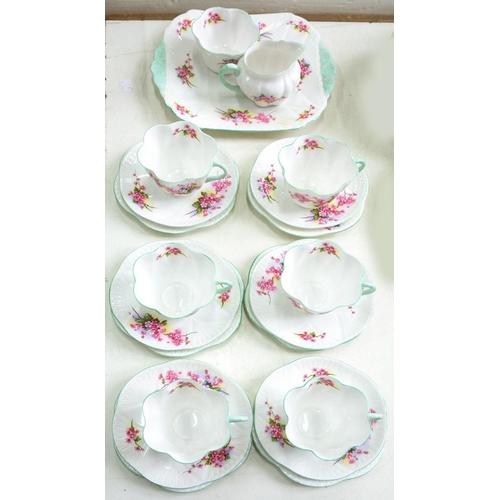184 - <p>A SHELLEY BONE CHINA FLORAL TEA SERVICE, PRINTED MARK, PATTERN 13429</p>...