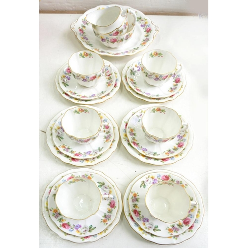 188 - <p>A ROYAL CROWN DERBY FLUTED FLORAL TEA SERVICE, PRINTED MARK, PATTERN A1000</p>...