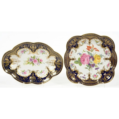 195 - <p>TWO STAFFORDSHIRE COBALT GROUND DESSERT DISHES, DECORATED WITH FLOWERS AND RICHLY GILT, 24 AND 27...