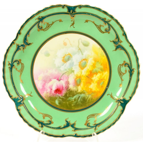 207 - <p>A ROYAL DOULTON BONE CHINA DESSERT PLATE, PAINTED BY A. WAGG, SIGNED, WITH FLOWERS RESERVED ON A ...