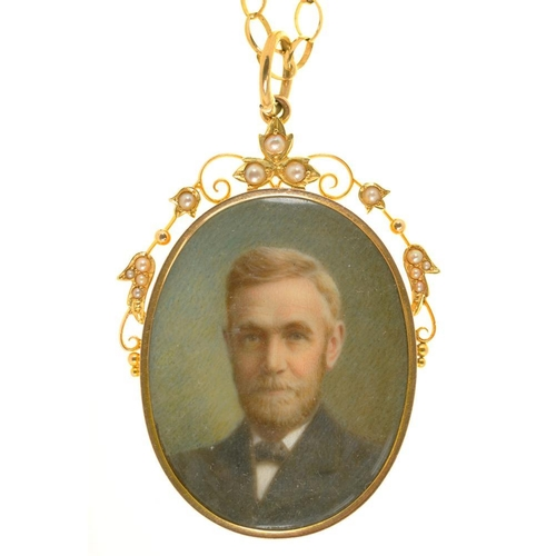 23 - <p>A VICTORIAN LOCKET IN GOLD MARKED 15CT, SET WITH SPLIT PEARLS, INSET WITH ENAMEL PORTRAIT MINIATU...