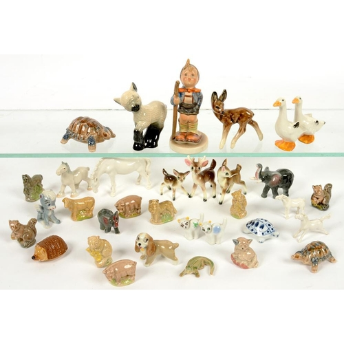 265 - <p>A COLLECTION OF WADE WHIMSIES AND OTHER MINIATURE CERAMIC ORNAMENTS </p>...