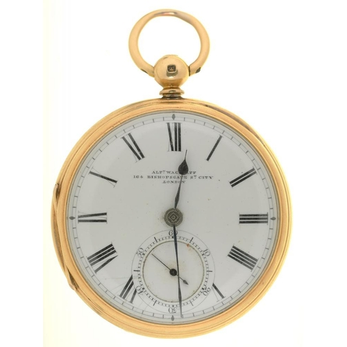 28 - <p>AN ALFRED WAGSTAFF 18CT GOLD GENTLEMAN'S LEVER WATCH, CASEMAKER HGMS, LONDON 1877, 5CM, 88.5G </p...