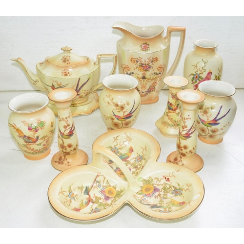 290 - <p>MISCELLANEOUS CROWN DUCAL ORNAMENTAL WARE AND A TEAPOT, COVER AND STAND, DECORATED WITH BIRDS ON ...