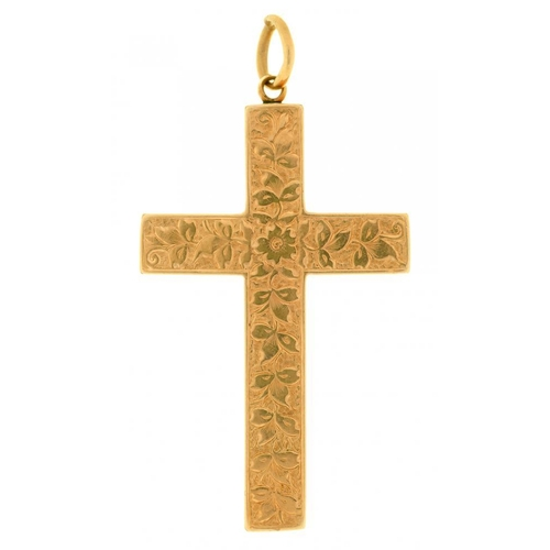 31 - <p>A VICTORIAN FOLIATE ENGRAVED GOLD CROSS, 4 X 2.5 CM APPROX, 4G</p><p></p>...