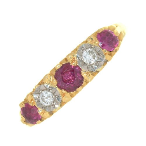 32 - <p>A RUBY AND DIAMOND RING, IN 18CT GOLD, 3G, SIZE O</p><p></p>...