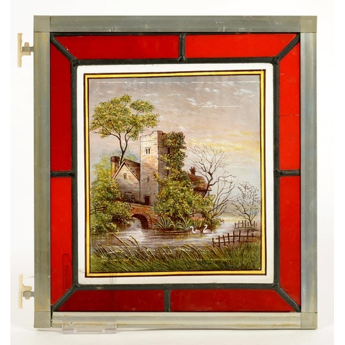 328 - <p>A VICTORIAN STAINED GLASS PANEL PAINTED WITH SWANS NEAR A WATER MILL, IN RUBY GLASS SURROUND, 29 ...