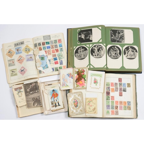 349 - <p>POSTAGE STAMPS.  AN ORIGINAL MINT AND USED GB AND WORLD COLLECTION IN RAPKIN BINDER, AN EARLY 20T...