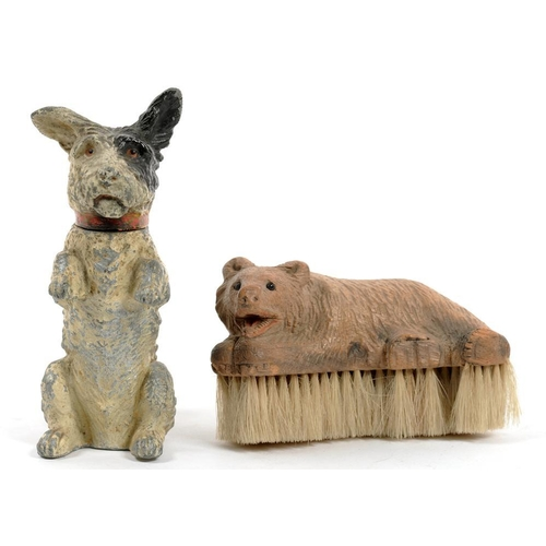 354 - <p>A COLD PAINTED SPELTER TABLE LIGHTER IN THE FORM OF A BEGGING TERRIER, 14CM H, C1930 AND A SWISS ...