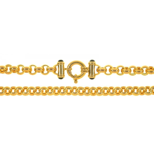 37 - <p>A GOLD CHAIN, SET WITH SAPPHIRE CABOCHONS TO CLASP, MARKED 375, 25G</p><p></p>...