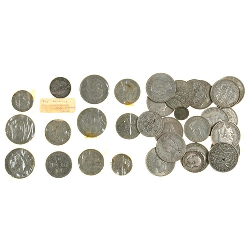 379 - <p>UNITED KINGDOM SILVER COINS, PERIOD 1920-46, PRINCIPALLY HALF CROWNS AND FLORINS AND SEVERAL OTHE...