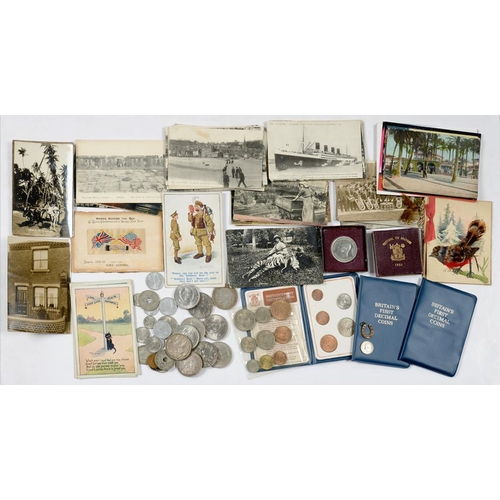 389 - <p>UNITED KINGDOM SILVER COINS, COMPRISING CROWN 1889 AND 1935 (2), BASE METAL CROWNS AND OTHERS AND...